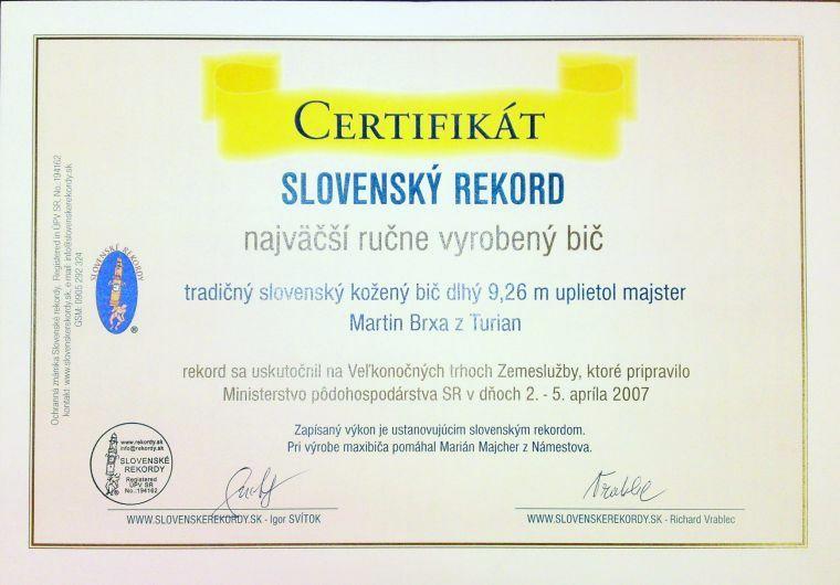 certifikat-slovensky-rekord-najdlhsi-bic-brxa